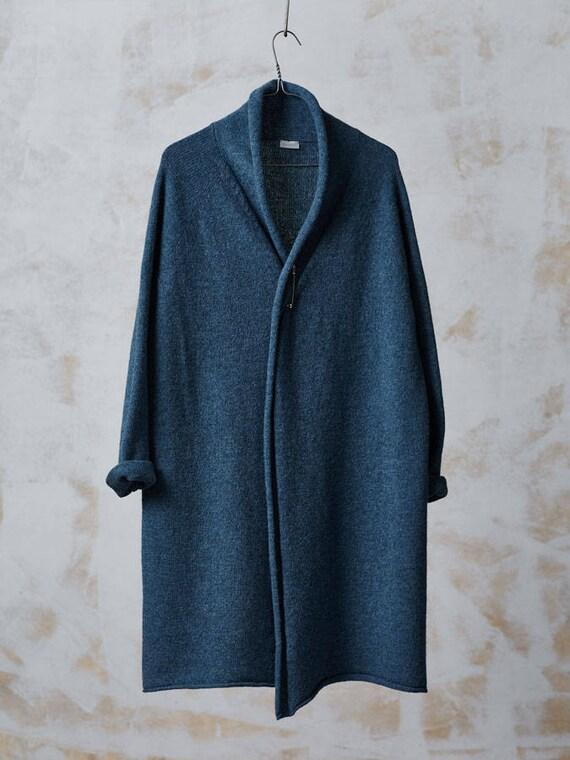 Long WOOL CARDIGAN Blue knitted wool jacket Long wool coat