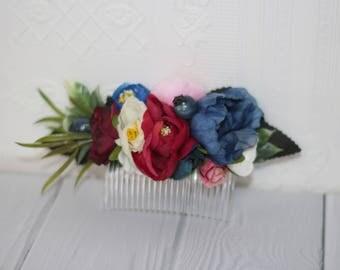 Burgundy blush pink flower hair comb bridal flower comb wedding flower hair piece burgundy bridal wedding comb bridesmaid hair comb navy