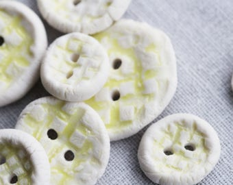 Yellow Porcelain Buttons
