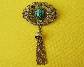 Vintage Brooch CZECH glass USSR jewelry pin emerald color Collectible jewelry Victorian style
