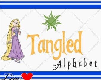 Tangled Alphabet svg, Letters, Numbers svg, svg fonts, Disney svg, Disney Alphabet, font, Silhouette Studio.