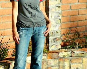 Football Tee-Womens Tshirts-Custom Tshirts in Handmade-Personalized Tshirts-Bad Wives Club Football Tee-Bottom Fit-MommyLaDyClub Mama Sass
