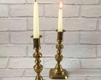 Vintage Pair of Brass Candlesticks Candleholders Square Based Lovely Design Details