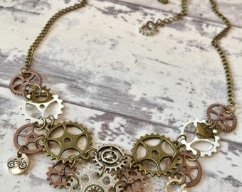 14 Speed Bicycle Chainring Necklace / Bike Necklace, Bike Jewelry, Bicycle Jewelry, Bike Gears Steampunk Necklace, Bicycle Necklace, Antique