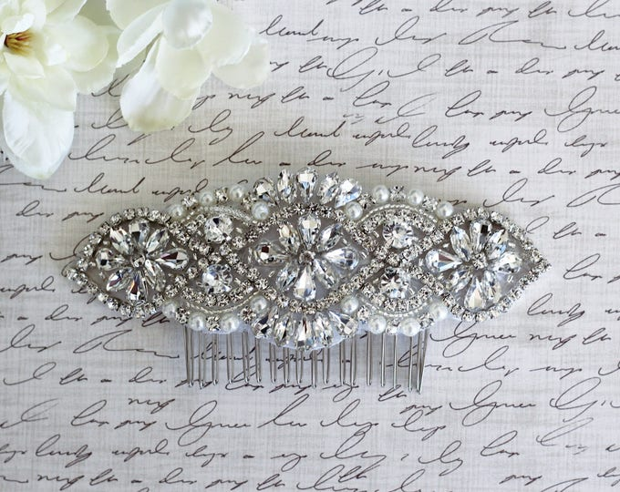 Silver Wedding Haircomb, Bridal Headpiece, Rhinestone Hairpiece, Hair Tiara, Hair Jewelry, Bridesmaid, Hair Accessory