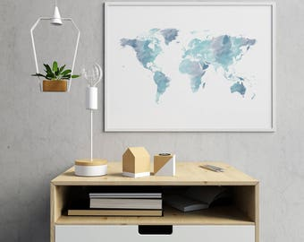World map print etsy watercolor world map print world map watercolor world map poster world map wall art gumiabroncs Images