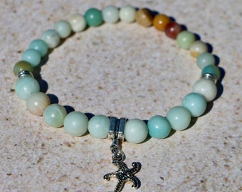Colors of the Sea! Starfish Charm on Amazonite Bead Bracelet--Healing and Prosperity