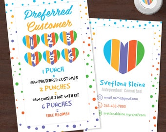 Rodan and Fields Preferred Customer, Free Personalized, Rodan and Fields Punch Cards, Pc Perks, Referral Cards, Consultant Gift