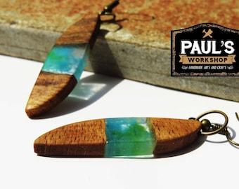 Resin and Wood Earrings,Epoxy resin Oak Wood ,Blue resin, Wood andResin jewelry, Resin earrings, Resin jewelry, Wood Jewelry, Wood resin