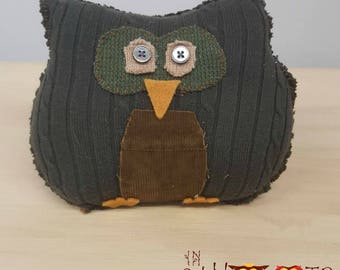 Olive Sweater Owl, Upcycled, Recycled