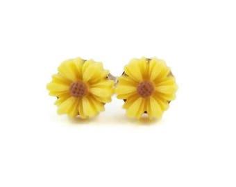 Sunflower Earrings/Stud Earrings/Tiny Earrings/Flower Earrings/Resin Earrings/Nickel Free Earrings/Sunflowers/Little Girl Earrings/Earrings