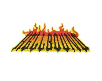 HELLBOUND Iron on Patch With Flames  Fiery Yellow to Red Patch, Biker Patches, Biker Patch, Hell Fire Patch - H525