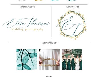 Floral Watercolor Logo | Premade logo | branding kit logo | Branding package | Premade Watercolor logo | Gold foil logo | Script logo