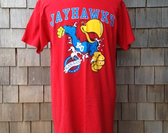 80s 90s vintage Kansas Jayhawks T shirt - Large - KU University