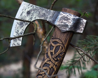 Hand Forged Viking Axe with hummer 1095 High Carbon Steel Leather Case, Viking Bearded Axe, Custom axe