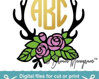 Floral Antler SVG - Deer Antler Monogram svg - Southern Monogram - floral svg - svg files - cutting files
