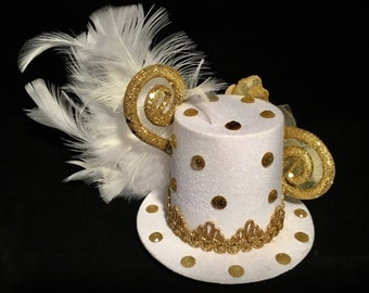 White Miniature Top Hat Fascinator Gold Butterfly White Feathers Gold Trim Wedding Cosplay Fantasy OOAK Roaring Gypsy Boutique