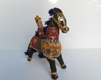 Horse rider/Marwari Rajasthani embroidered Folk/shisha mirrors / India/India crafts and horse from the 1930's