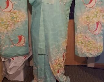Beautiful Teal Crane Furisode Kimono