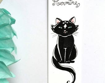 "Marque-pages Chat noir "" Hermine"""