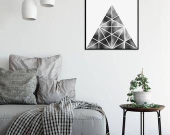 Black and White Abstract Watercolor Print Mountain 1 Geometric Art Print Minimalist Art Scandinavian Posters Large Prints Digital Download