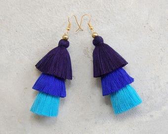 Three Shades of Blue Tassel Earrings