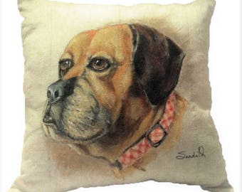 "DOG PILLOW PORTRAIT, Large 18"" x 18"" Throw Pillow, Hand Painted Pet Pillow"