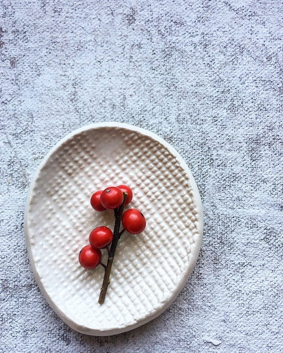 Winter White Small Porcelain Dish