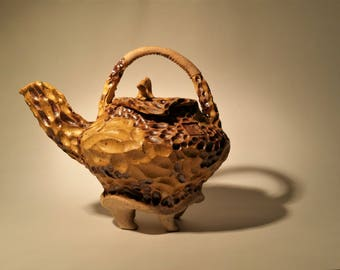 Koi Teapot III. Wheel Thrown and Hand Carved One of a Kind Stoneware Teapot.