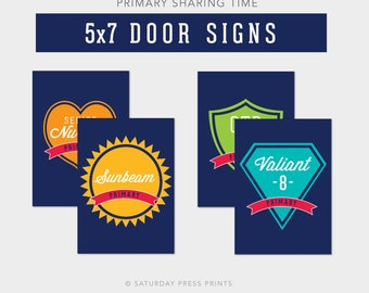 5x7 LDS Primary Class Room Door Signs, Sharing Time, Seating Arrangements, Navy, Printables