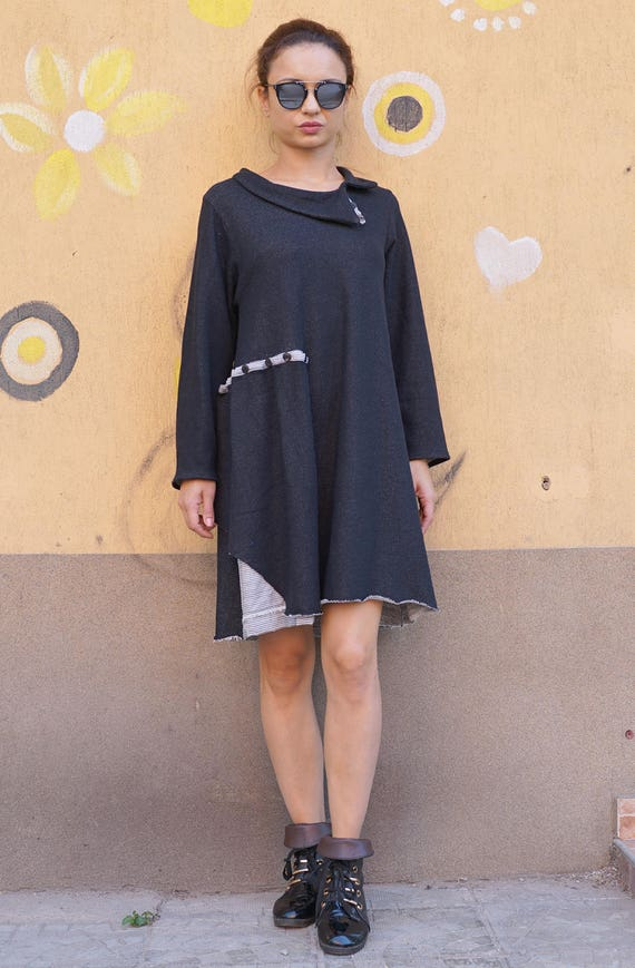 Lagenlook Fall Winter Dress, Oversized Black Extravagant Dress, Cocoon Plus Size Collar Dress, Asymmetric Deconstructed Dress Tunic