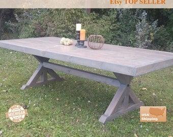 Farm House Table, Farm Table, Trestle Table, Large Farm House Table, Gray Farm House Table