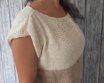 Summer Top, Pullover Top, Women's Hand Knit Cotton Top,  Spring Summer Sweater, Handmade, Handknit, Knitted, Handknit t-shirt,
