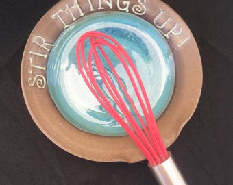 Stir Things Up Spoon Rest, Ceramic Spoon Rest, Pottery Spoon Rest, Stir things up, Handmade Spoon rest, Kitchen Spoon holder