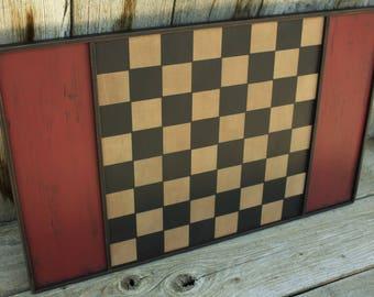 Primitive Checkers, Wood Gameboard, Handmade Folk Art,  Primitive Home Decor, Red, White, Black, Antique Reproduction Game, Primitive Home,