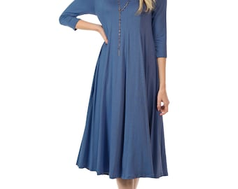 A-Line Trapeze Midi Dress Denim