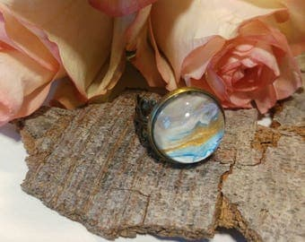 Adjustable ring, ring for gift, round ring, hand painted ring, blue white ring, pink design, copper ring, cabochon ring, homemade jewelry,