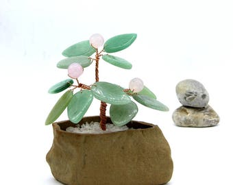 Green Aventurine Wire Tree Rose Agate Gemstone Wire Sculpture Gemstone Bonsai Decor Lucky Tree Feng Shui Decor Money Tree Gemstone Statues
