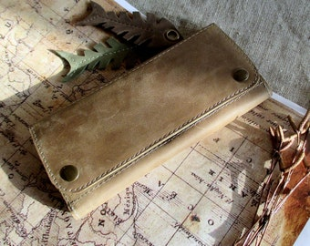 Minimalist leather wallet woman card holder long slim wallet zipper pocket holder coin handmade leather purse distressed leather card wallet