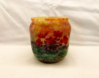 Daum Nancy Vitrified Cameo Glass Vase c. 1905-1910