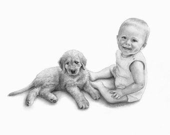 Custom Portrait, Drawing From Photo, Charcoal Drawing, Personalized Portrait Drawing, Custom Pet Portrait, Baby & Dog Drawing, Baby Portrait