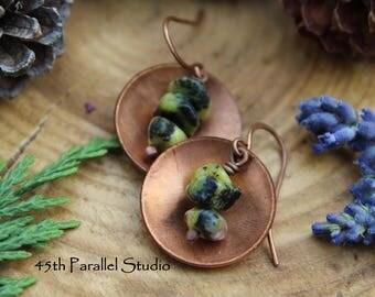 Yellow Turquoise Earrings, Turquoise Earrings, Yellow Earrings, Copper Disc Earrings, Rustic Earrings, Copper Jewelry, Turquoise, Copper