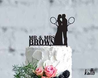 Tennis wedding cake topper- Customizable Wedding Cake Topper- Personalized Tennis  cake topper- Tennis Wedding Cake toppe