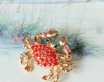 Vintage Red Rhinestone Crab Brooch Sea Life Jewelry
