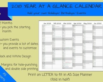 CUSTOMIZED - 2018 Year at a Glance Calendar on 2 Pages Fold-Out Printable Planner, Print on LETTER to fit A5 Planner