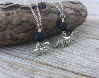 Dinosaur Charm Necklace - Lava Stone Diffuser Necklace, Aromatherapy Volcanic Rock T-Rex & Brontosaurus Charm Necklace, Dinosaur Necklace
