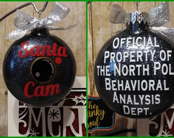 Santa Cam Ornament, Santa Camera Ornament, Santa Ornament, Glitter Ornament, Santa Surveillance, North Pole Viewer, 2 Sizes To Choose From