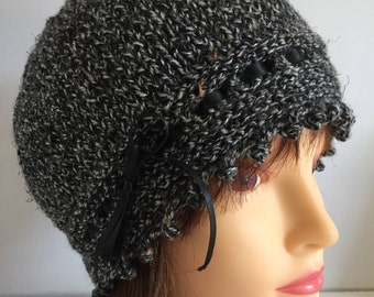 Womens Beanie Hats, Black Tweed Hat, 1920s Hat, Vintage Style Hat, Ribbon Laced Hat, Fancy Wool Hat, Skull Cap, Winter Knitted Gifts