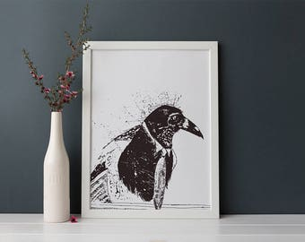 Magpie Bird in a Tie -  Black and White - Painting converted to digital