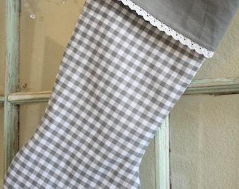 Gray Check Stocking--Lace Trim #7
